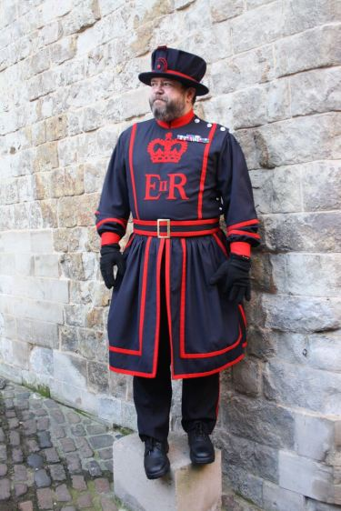 Beefeater in blue uniform