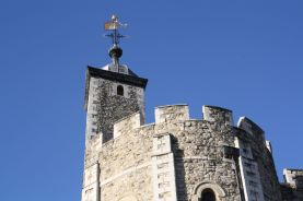 The very tip-top of the White Tower. Imagine a mouse swinging on the weather vane