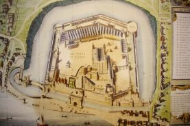 This old map shows the White Tower, the walls and other buildings surrounded by the moat
